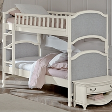 White Adalene Upholstered Twin Bunk Bed