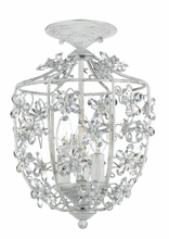 Antique White Wrought Iron Lantern with Hand Polished Crystals