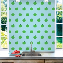 Apples in Green and Blue Removable Wallpaper