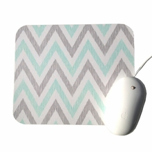 Aqua and Gray Chevron Mouse Pad