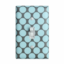 Aqua and Gray Dots Light Switch Plate Cover