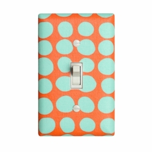 Aqua and Orange Dots Light Switch Plate Cover