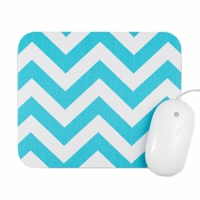 Aqua and White Chevron Mouse Pad