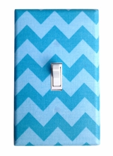 Aqua Chevron Light Switch Plate Cover