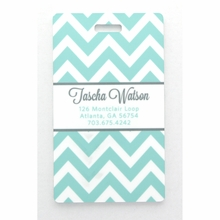 Aqua Chevron Personalized Luggage Tag Set