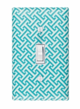 Aqua Greek Key Light Switch Plate Cover