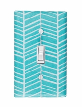 Aqua Herringbone Light Switch Plate Cover
