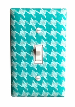 Aqua Houndstooth Light Switch Plate Cover