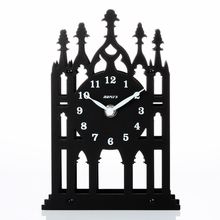 Architecture Silhouette Metal Table Clock