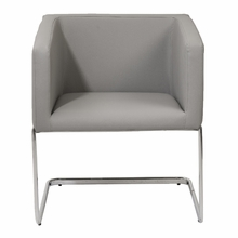 Ari Lounge Chair in Gray Leatherette and Chrome