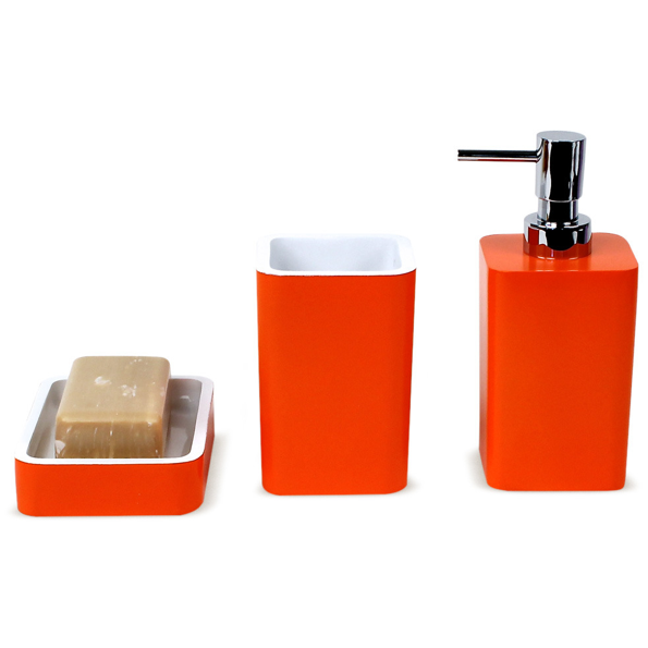 ... Arianna 3-Piece Bathroom Accessory Set in Orange: Bathroom Accessories