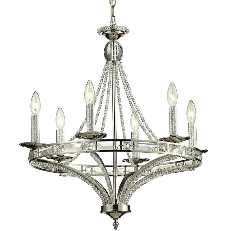 District17 Aubree Chandelier In Polished Nickel Chandeliers