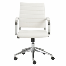 Axel Low Back Office Chair in White and Aluminum