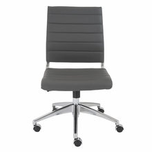 Axel Low Back Office Chair W and No Arms in Gray and Aluminum