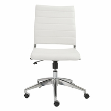 Axel Low Back Office Chair W and No Arms in White and Aluminum