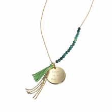Bahia Pendant Green in Gold Plated
