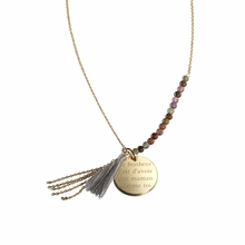 Bahia Pendant Grey in Gold Plated