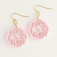 Ballet Pink Flourish Monogram Acrylic Earrings