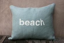 Beach Burlap Pillow In Light Blue & White