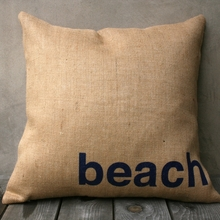 Beach Burlap Pillow In Natural & Navy