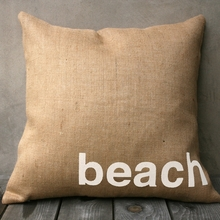 Beach Burlap Pillow In Natural & White