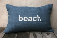 Beach Burlap Pillow In Navy & White