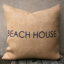 Beach House Burlap Pillow In Natural & Navy