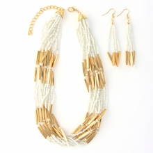 Beaded White Multi-Strand Necklace and Earring Set