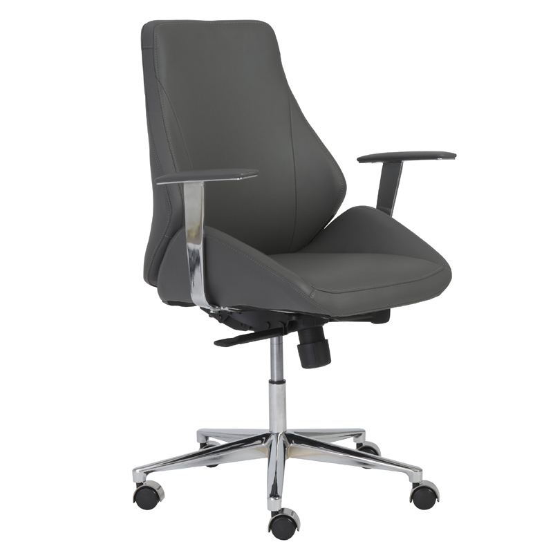 district17 bergen low back office chair in gray and aluminum chairs
