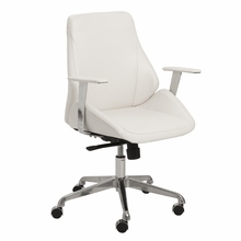 Bergen Low Back Office Chair in White and Aluminum