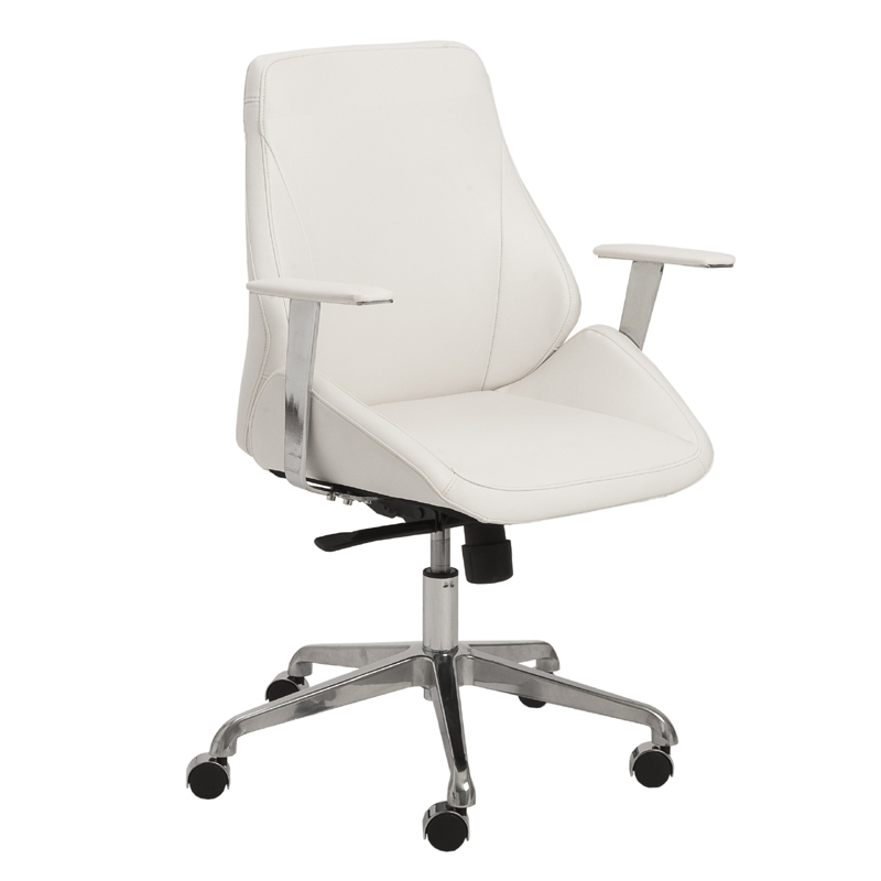 district17 bergen low back office chair in white and aluminum chairs