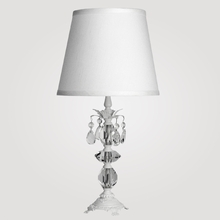 Berlin Small Matte White Clear Crystal Table Lamp