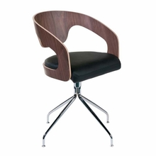Bernice Swivel Chair in Walnut and Chrome