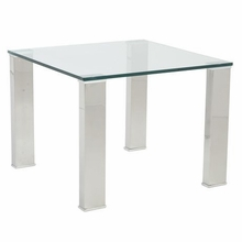 Beth Side Table in Clear and Stainless Steel