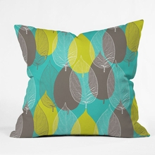 Big Leaves Blue Throw Pillow