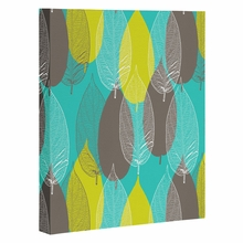 Big Leaves Blue Wrapped Canvas Art