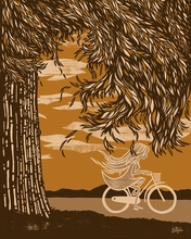 Biking in Autumn Canvas Wall Art
