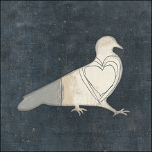 Bird with Big Heart Vintage Canvas Print on Wood