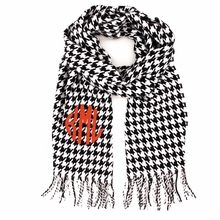 Black and White Houndstooth Monogram Cashmere-Feel Scarf