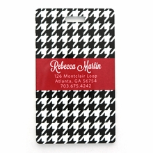 Black and White Houndstooth Personalized Luggage Tag Set