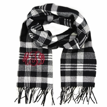 Black and White Plaid Monogram Cashmere-Feel Scarf