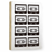 Black and White Tapes Vintage Wood Sign