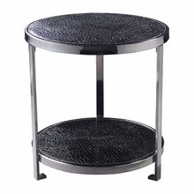 Black Croc Round Side Table