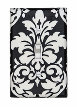 Black Damask Light Switch Plate Cover