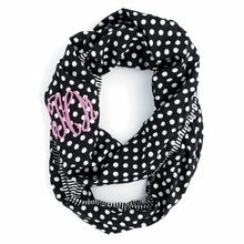 Black Dots and Stripes Monogram Infinity Scarf