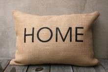 Black Home Natural Burlap Pillow