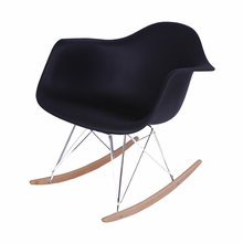 Black Mid-Century Rocking Chair with Arms
