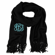 Black Monogram Soft Knit Scarf