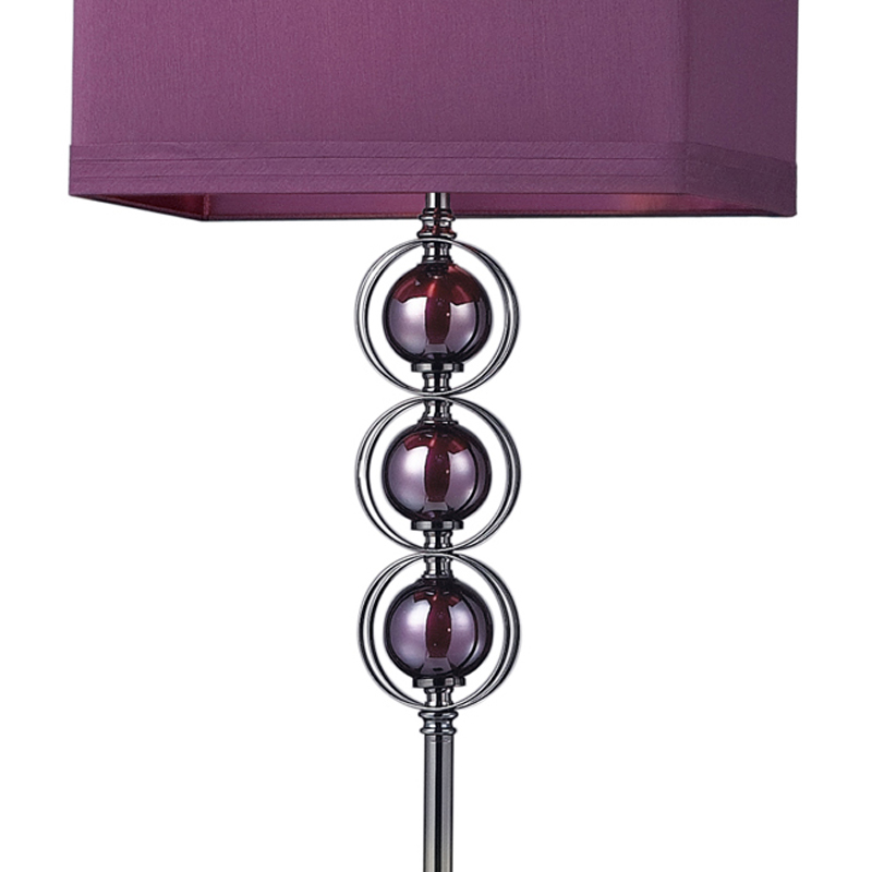 district17: black nickel and purple floor lamp with purple shade