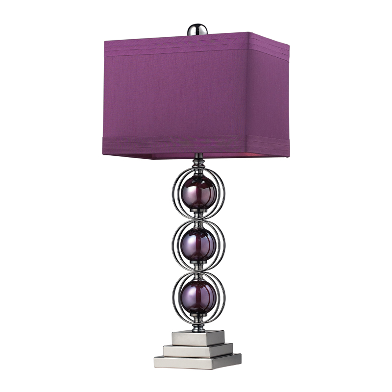 District17 Black Nickel And Purple Table Lamp With Purple